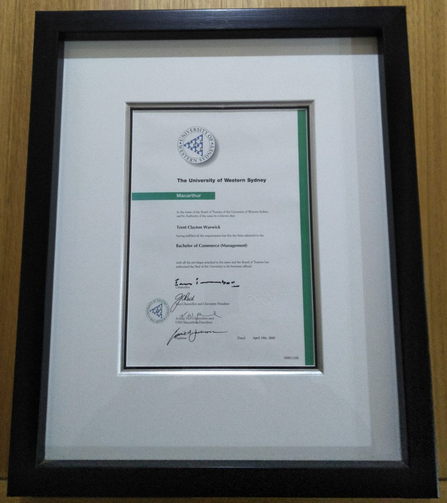 a certificate framed neatly